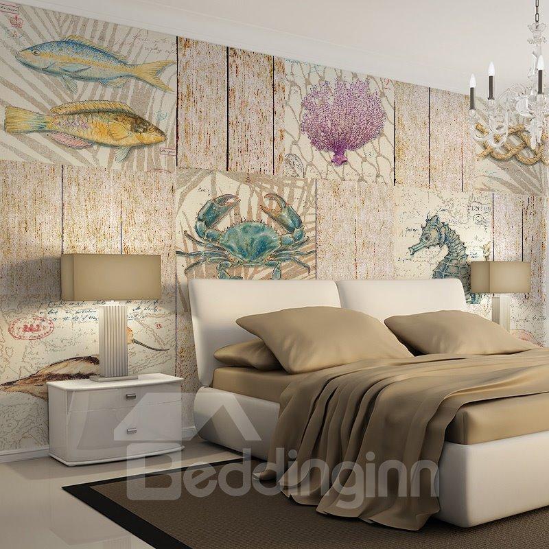 Mediterranean style simple marine organism pattern for Mural 3d simple