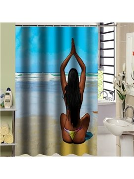 Sexy Girl in the Beach Printed 3D Shower Curtain
