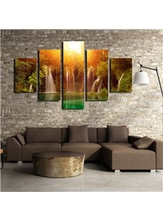 Natural Sunshine Waterfall Scenery Pattern 5 Pieces None Framed Wall Art Prints