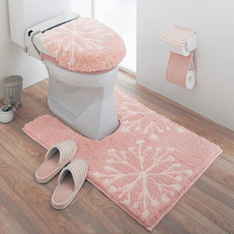 Cute Snow Pattern 100 Cotton 3 Pieces Pinki Toilet Seat Cover Sets Bedding