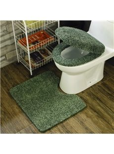 Dark Green 3-Pieces Plush Toilet Seat Cover Sets