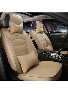 Luxurious Textured Design Solid Beige PU Leatherette Material Universal Car Seat Cover