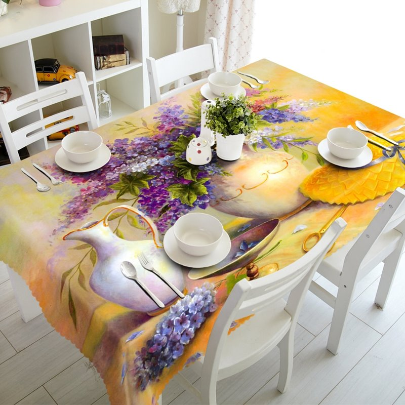 Artistic Flowers and Vase Prints Design Dining Room Decoration 3D Tablecloth