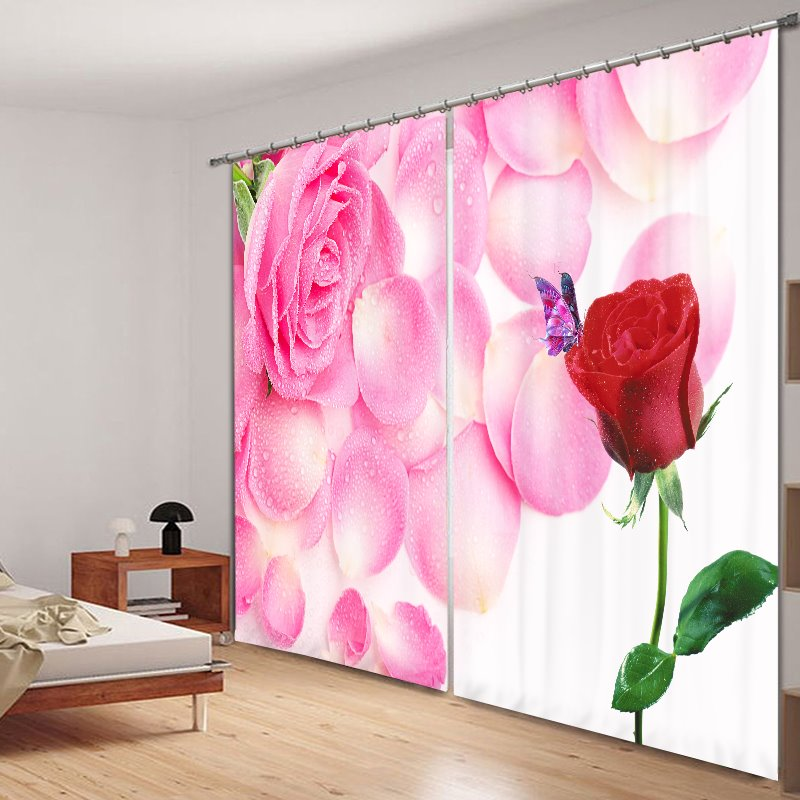 Romantic Pink and Red Roses 3D Printing Polyester Curtain 12809436