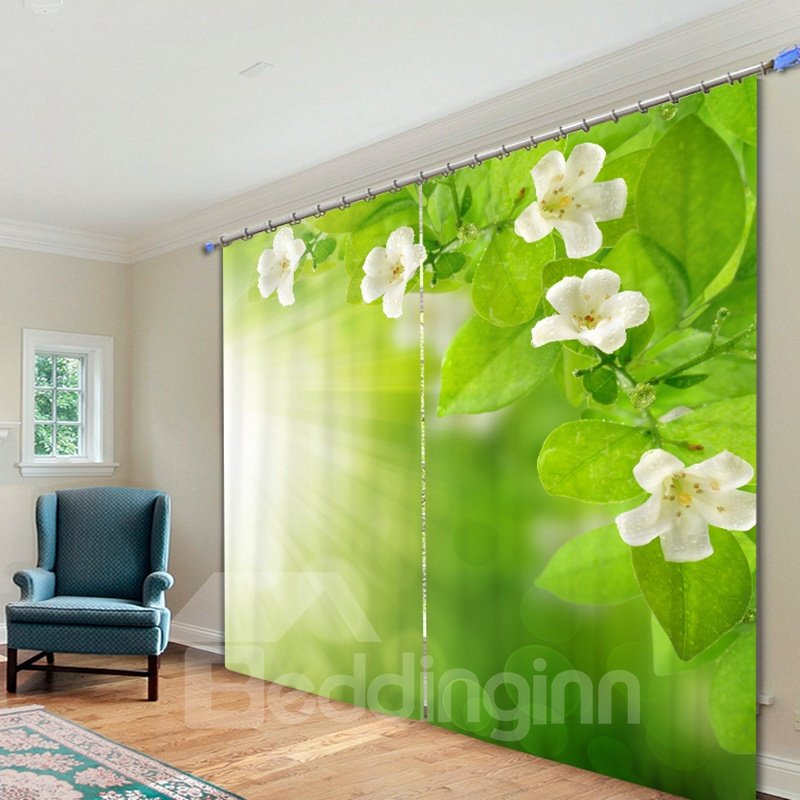 White Flower and Green Leaves in the Sunshine 3D Printing Curtain 12809461