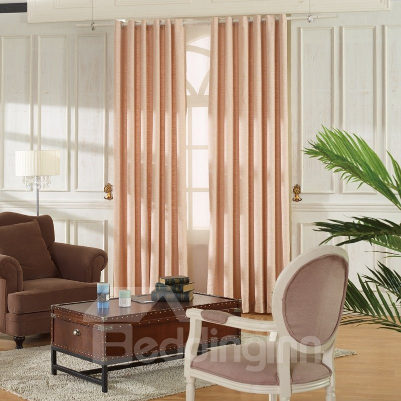 Concise Pink Linen Ventilate Custom Grommet Top Curtain 12816133