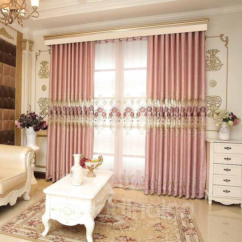 Luxury Pink Hollow Embroidered Custom Grommet Top Curtain 12816138