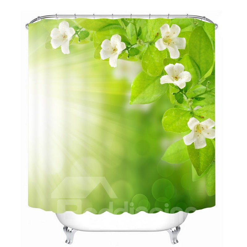 White Flower and Green Leaves in the Sunshine 3D Printed Bathroom Waterproof Shower Curtain 12817930