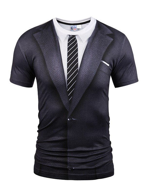 Black Suit With Striped Tie Printing Short Sleeve Mens 3d T-shirt
