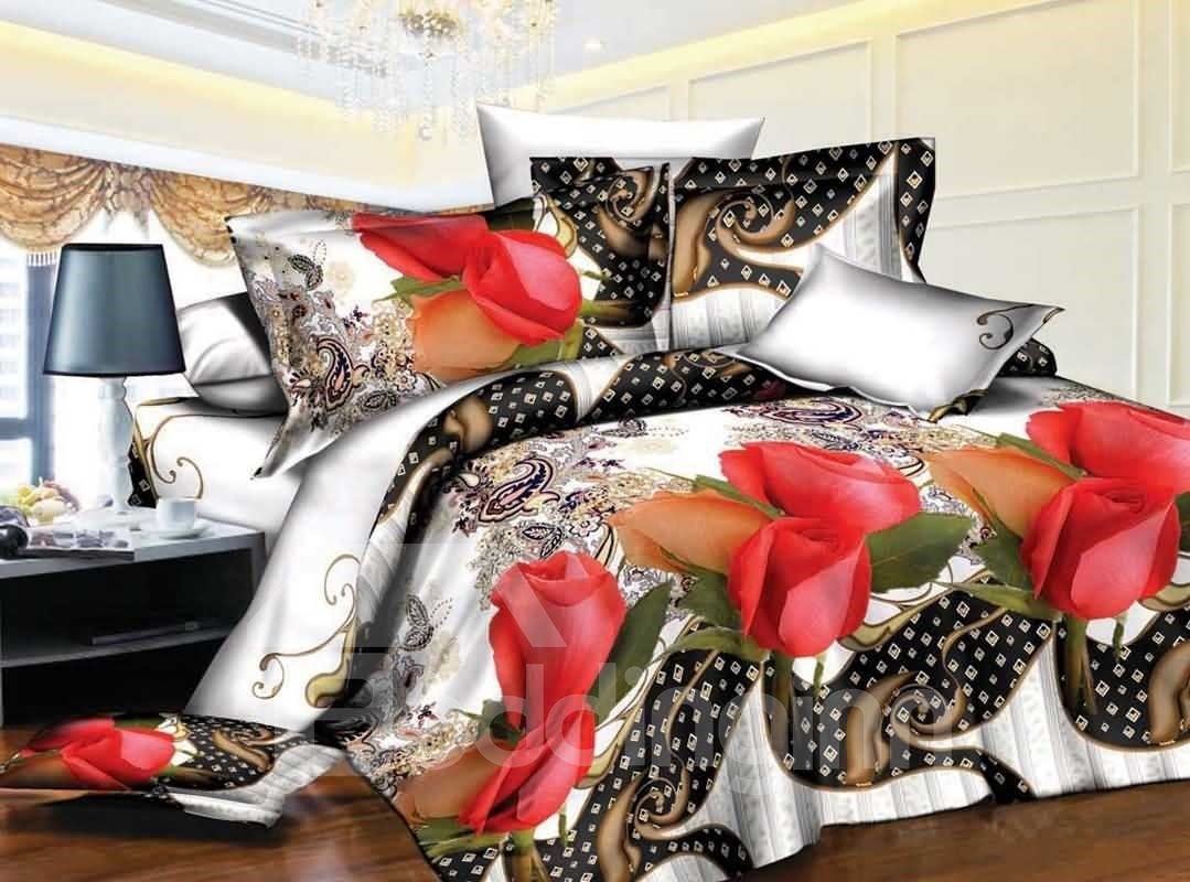 Retro Style Red Rose Print 4-Piece Polyester Duvet Cover Sets 12829710