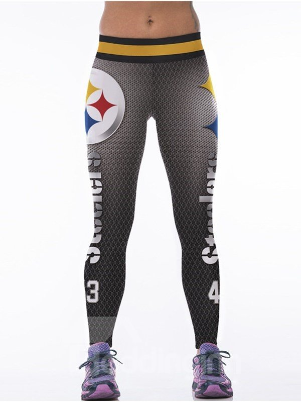 Sporty Style Number Printed Gray Womens 3d Leggings