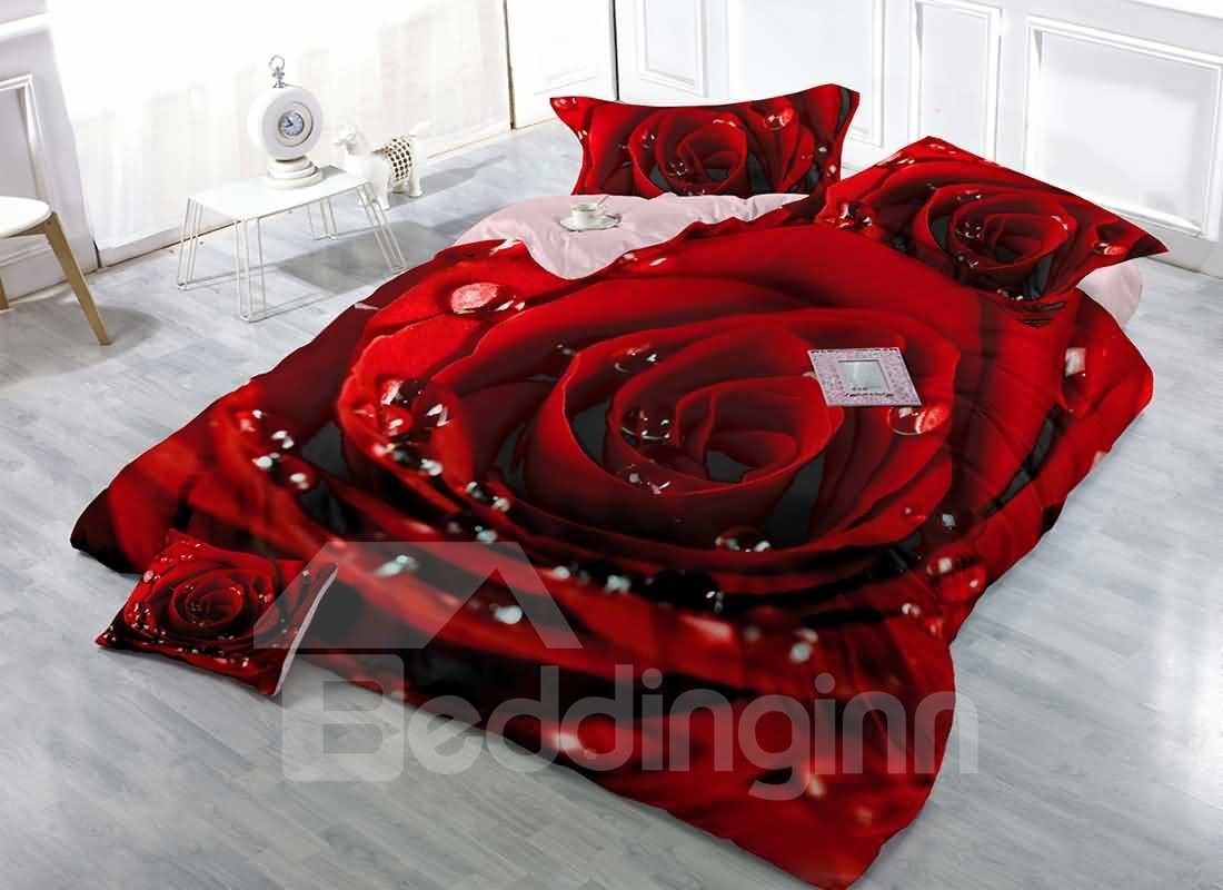 3D Red Rose Digital Printing Cotton 4-Piece Bedding Sets/Duvet Covers 12846333