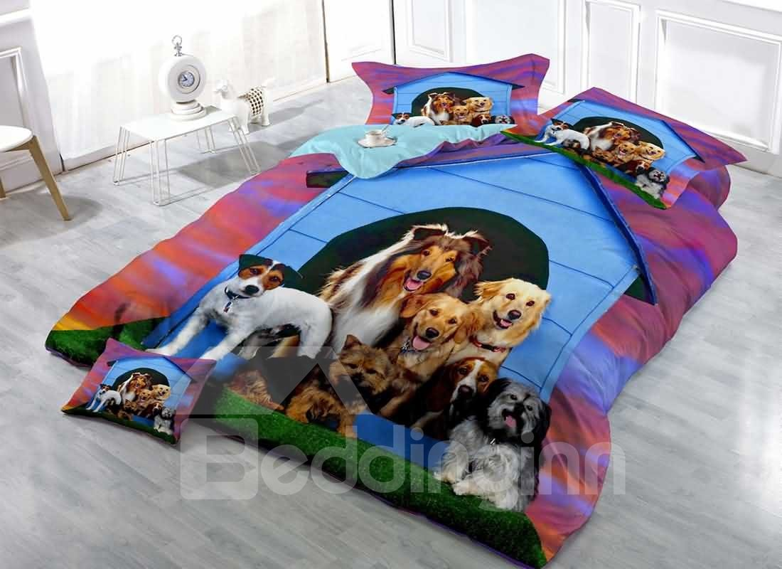 3D Dogs Digital Printing Cotton 4-Piece Bedding Sets/Duvet Covers 12846368
