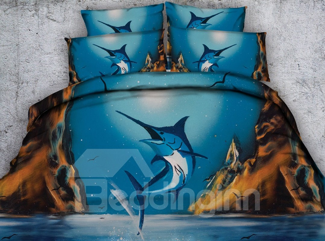 3D Tuna Printed Blue 4-Piece Bedding Sets/Duvet Covers 12849083