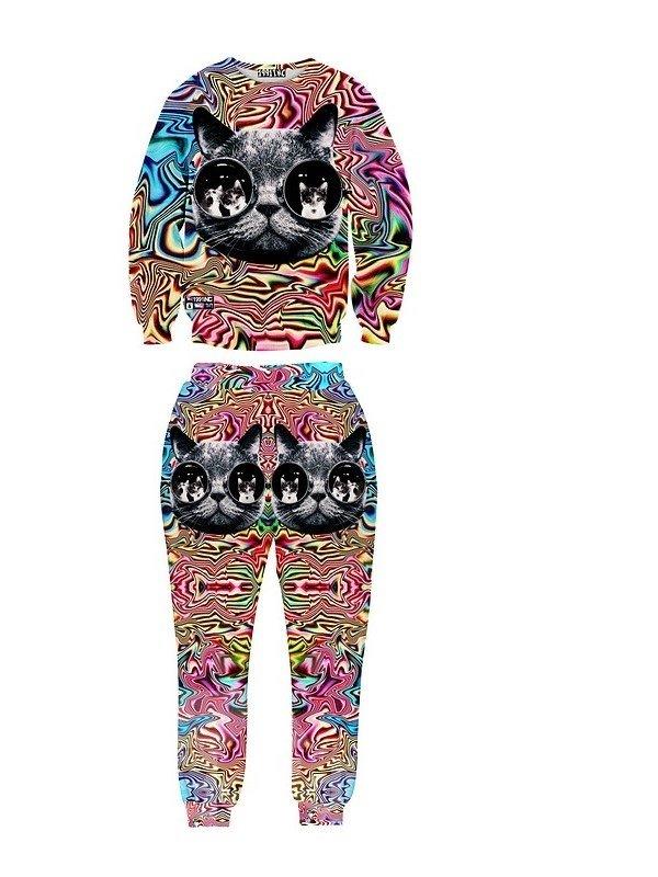 Glasses Cat Fashion Colorful Long-sleeve Mens 3d Sweatshirt Sets