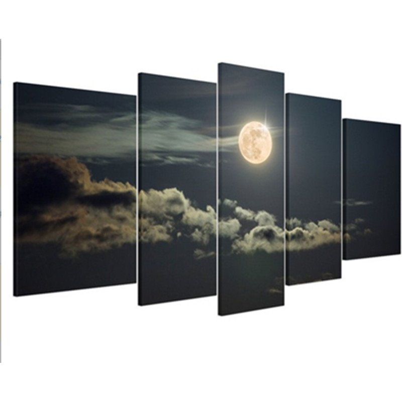 Gold Sun Cloud and Sky 5-Piece Canvas Non-framed Wall Prints