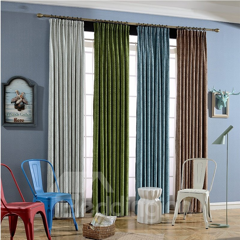 Decoration And Blackout Polyester Jacquard Modern And Concise Thick Room Curtains
