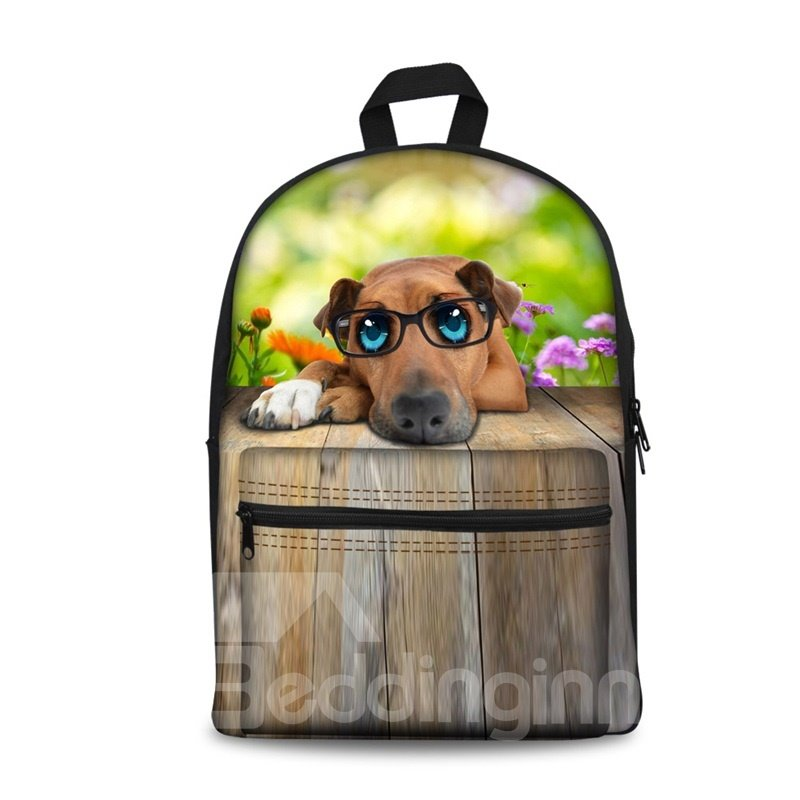 New 3D Animals Adorable Dog Print Backpack