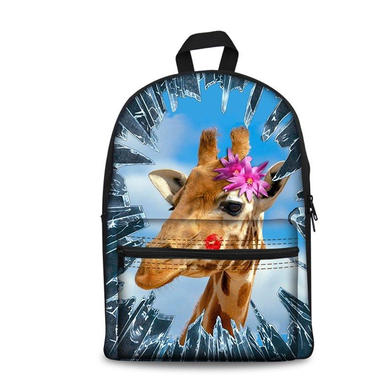 New 3D Animals Giraffe Print Backpack School