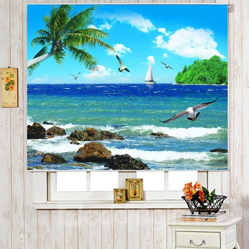 3d Palm Trees And Flying Seagulls With Blue Seawater Beautiful Scenery Curtains Roller Shade