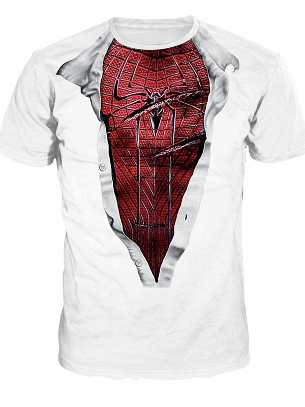 Spiderman Style Pattern Couple Round Neck 3D Painted T-Shirt 12901919