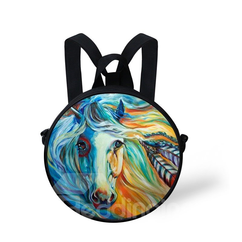 Round 3D Blue Horse Pattern School Bag