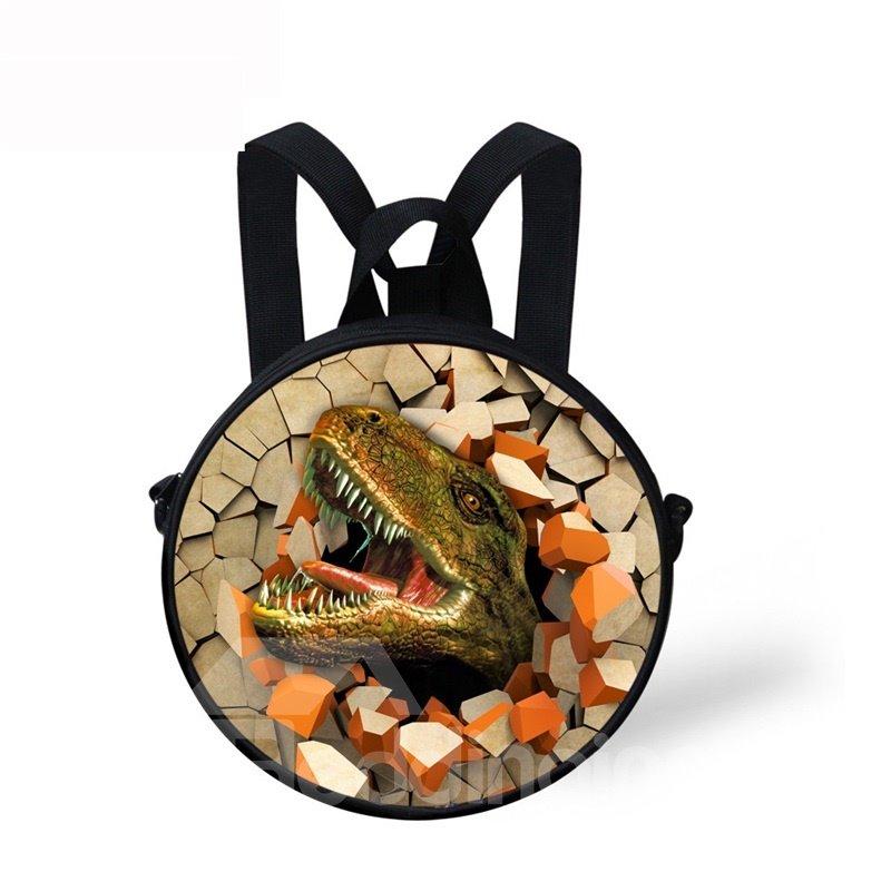 Round 3D Dinosaur Pattern School Bag Shoulders
