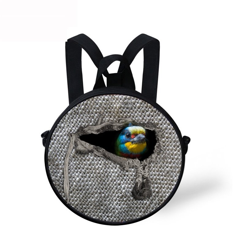 Round 3D Bird Animal Pattern School Bag