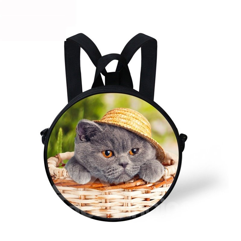 Round 3D Cat with Hat Pattern School