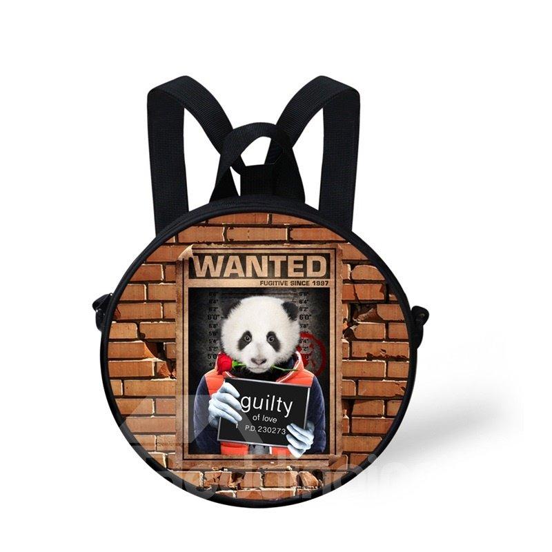 Round 3D Panda Pattern School Bag Shoulders