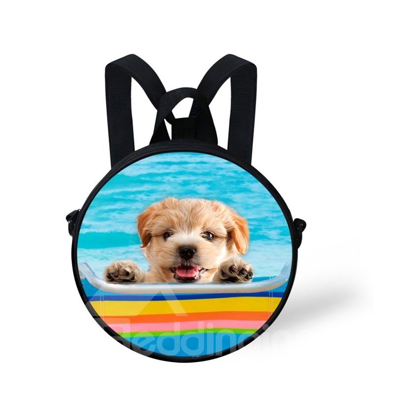 Round 3D Cute Dog Swimming Pattern School
