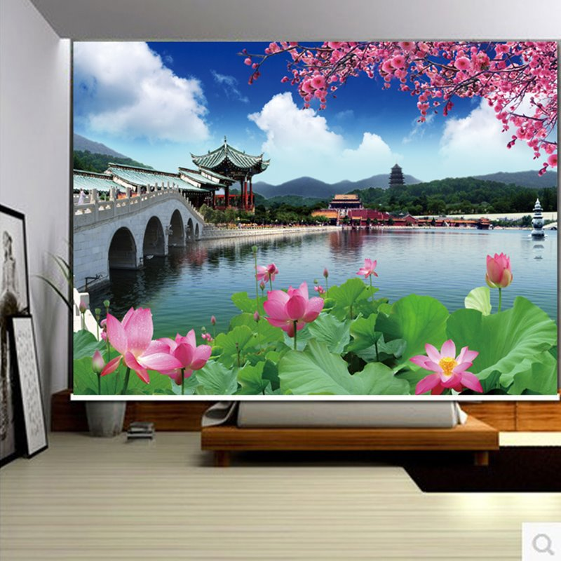 3D Unique Buildings and Blooming Lotus Printed Chinese Style Decoration Curtain Roller Shade 12903339