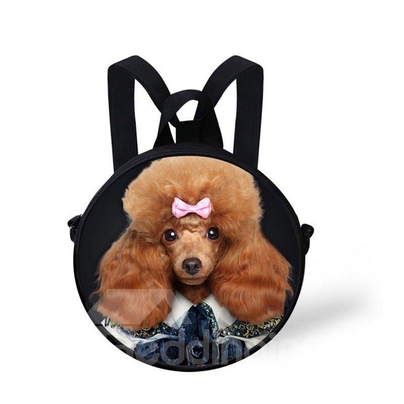 Round 3D Mr.Poodle Pattern School Bag Shoulders