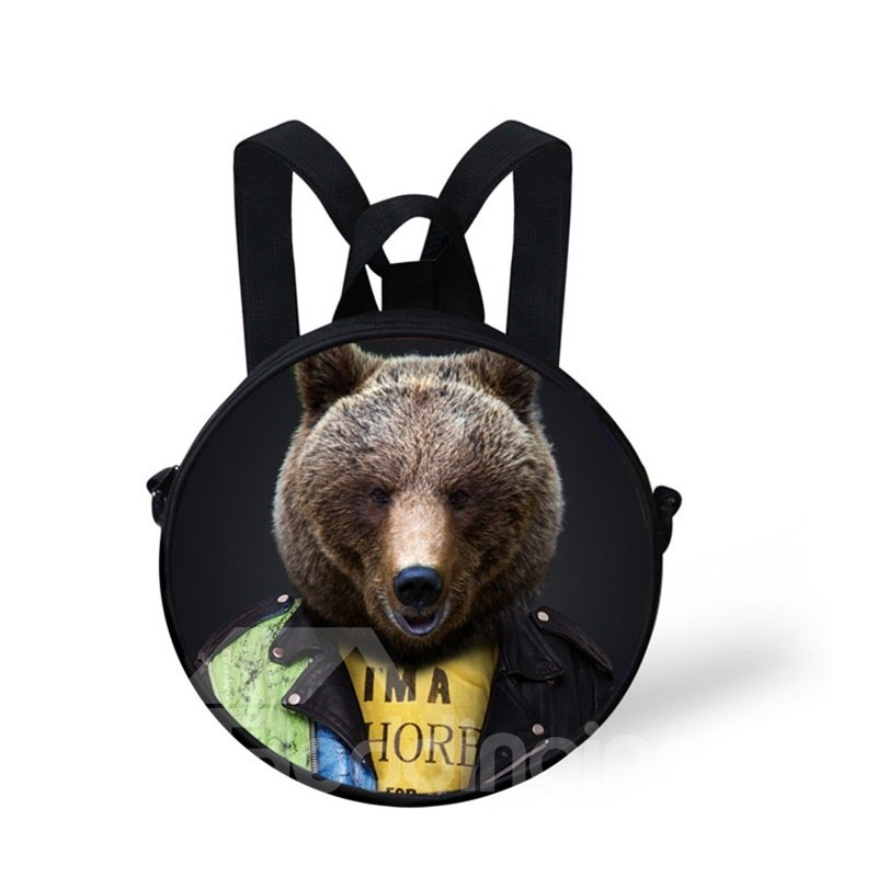 Round 3D Mr. Bear Pattern School Bag
