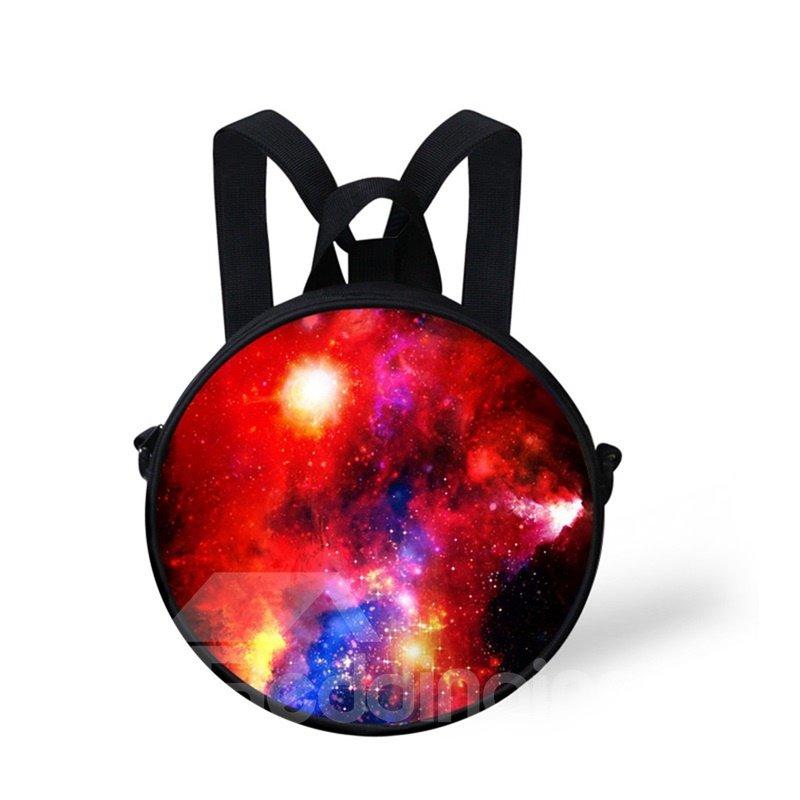 Round 3D Galaxy Pattern School Bag Shoulders