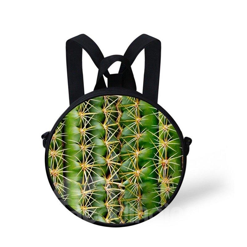 Round 3D Cactus Pattern School Bag Shoulders