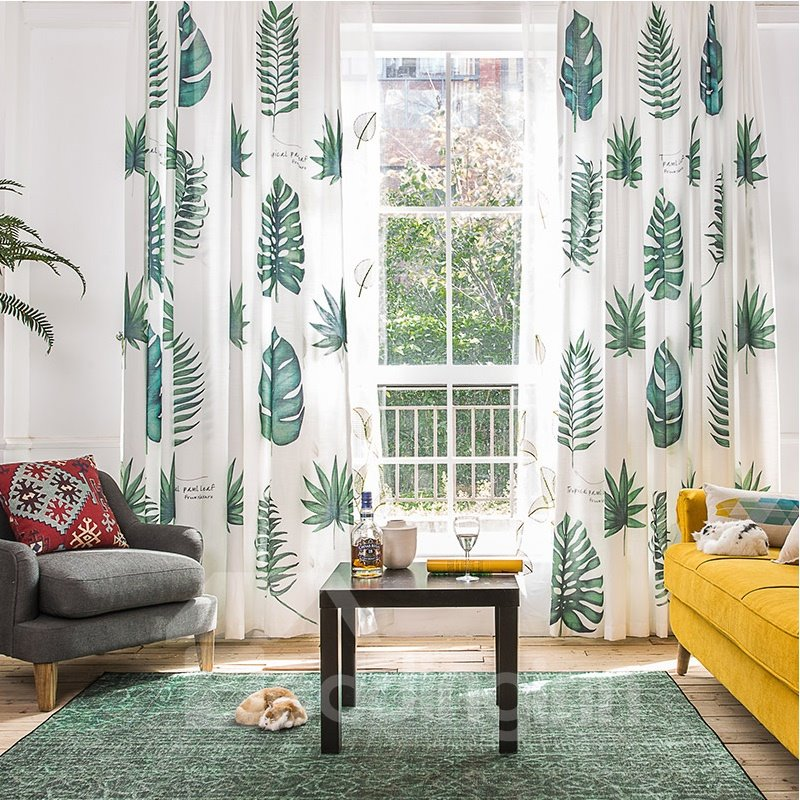 Blackout And Decoration Polyester Printing Green Leaves Fresh Style 2 Panels Room Curtains