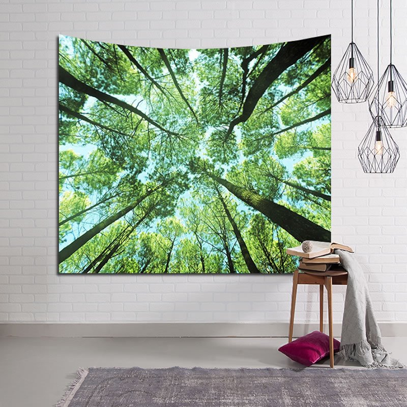 Vibrant Spring Forest Design Green Decorative Hanging Wall Tapestry 12914653