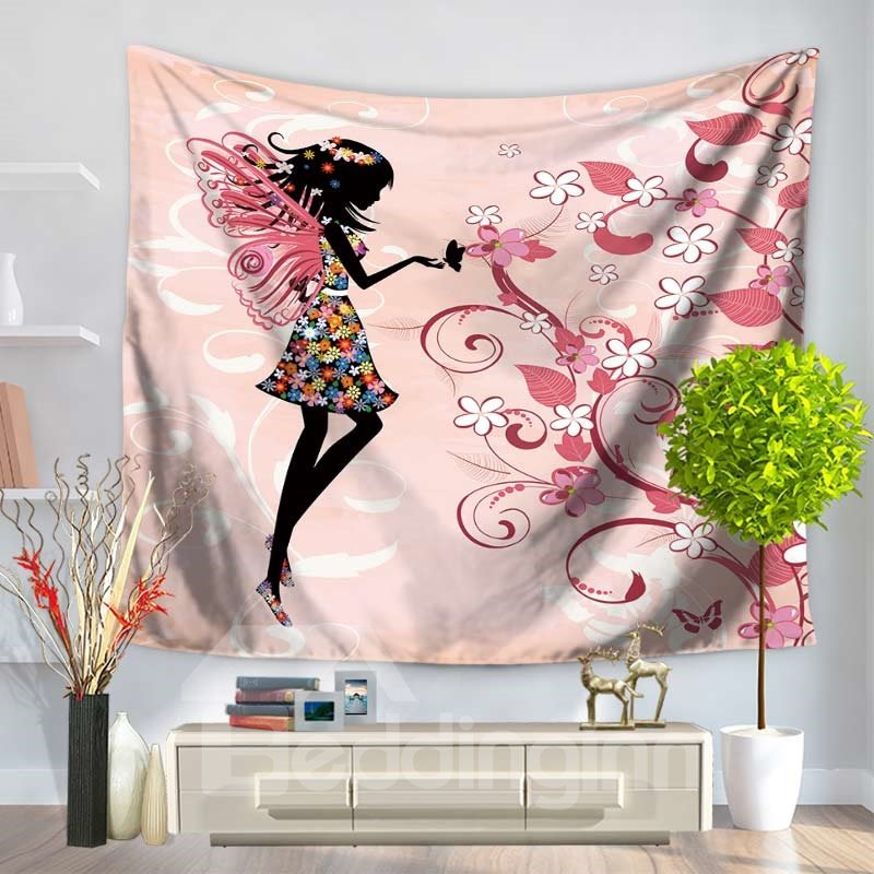 Floral Fairy with Butterflies Wings Charming Pattern Pink Decorative Hanging Wall Tapestry 12918304