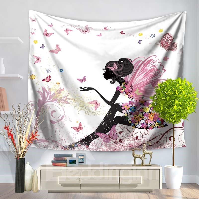 Floral Fairy with Pink Wings and Butterflies Dancing Decorative Hanging Wall Tapestry 12918314