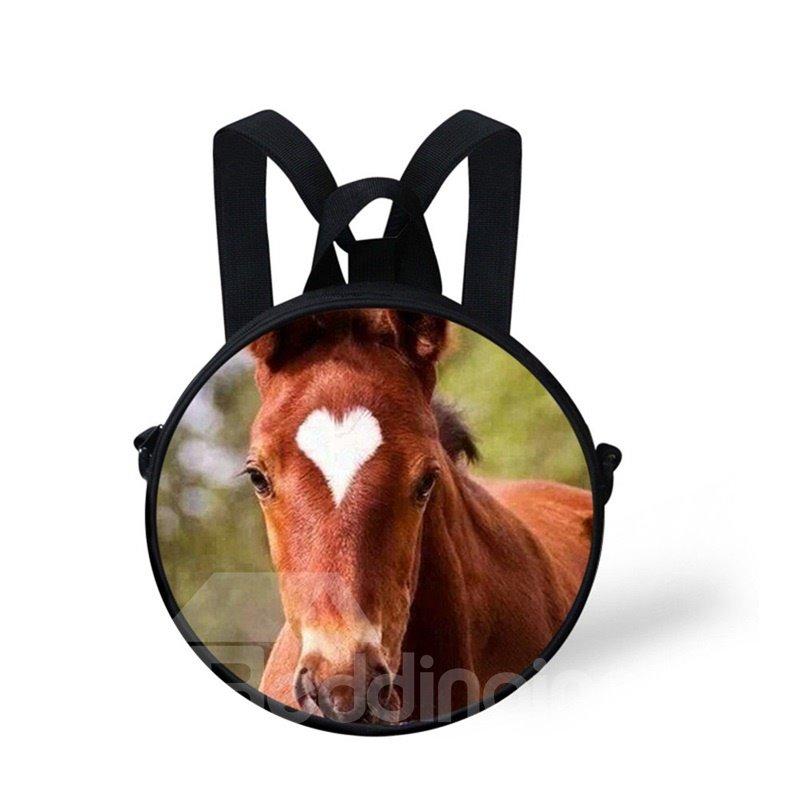 Round 3D Heart Horse Pattern School Bag