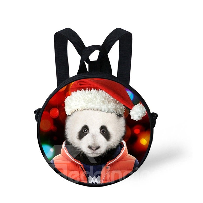 Round 3D Panda Christmas Pattern School Bag