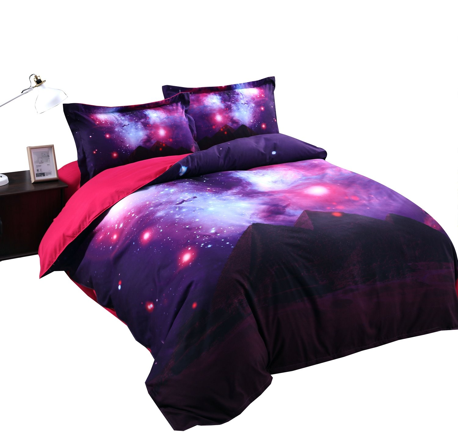 Onlwe 3D Scintillating Galaxy and Mountain Printed 4-Piece Purple Bedding Sets/Duvet Covers