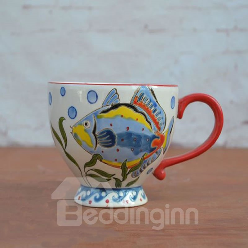 Colored Ceramic Cup Pastoral Style White Fish European Porcelain Coffee Mugs 12931235