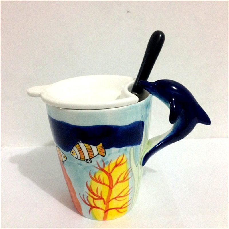 Wonderful 3D Dolphin Marine Life Animals Ceramics Tea Cup Sets Coffee Cup 12931240