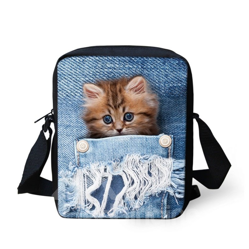 3D Animals Orange Cat Jeans Pattern Messenger