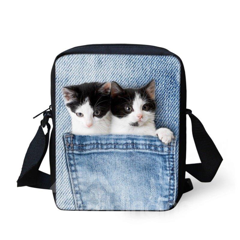 3D Animals Double Cat Jeans Pattern Messenger