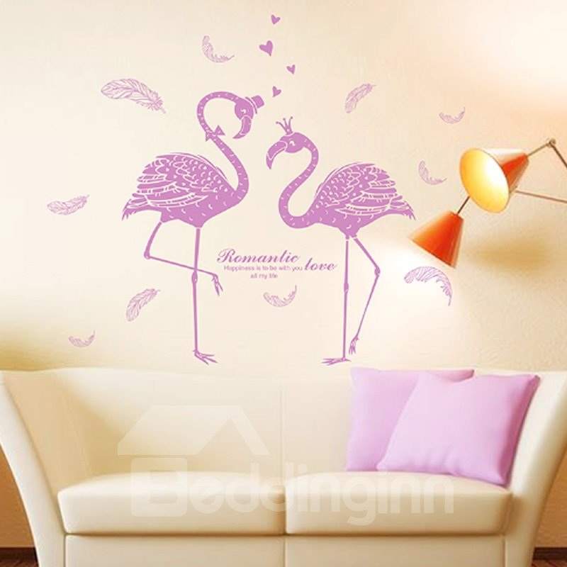 Purple Flamingos Pattern PVC Waterproof and Eco-friendly Wall Stickers
