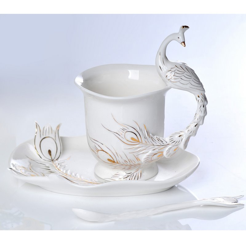 White and Green Peacock High Quality Ceramics Milk and Coffee Cup Sets beddinginn