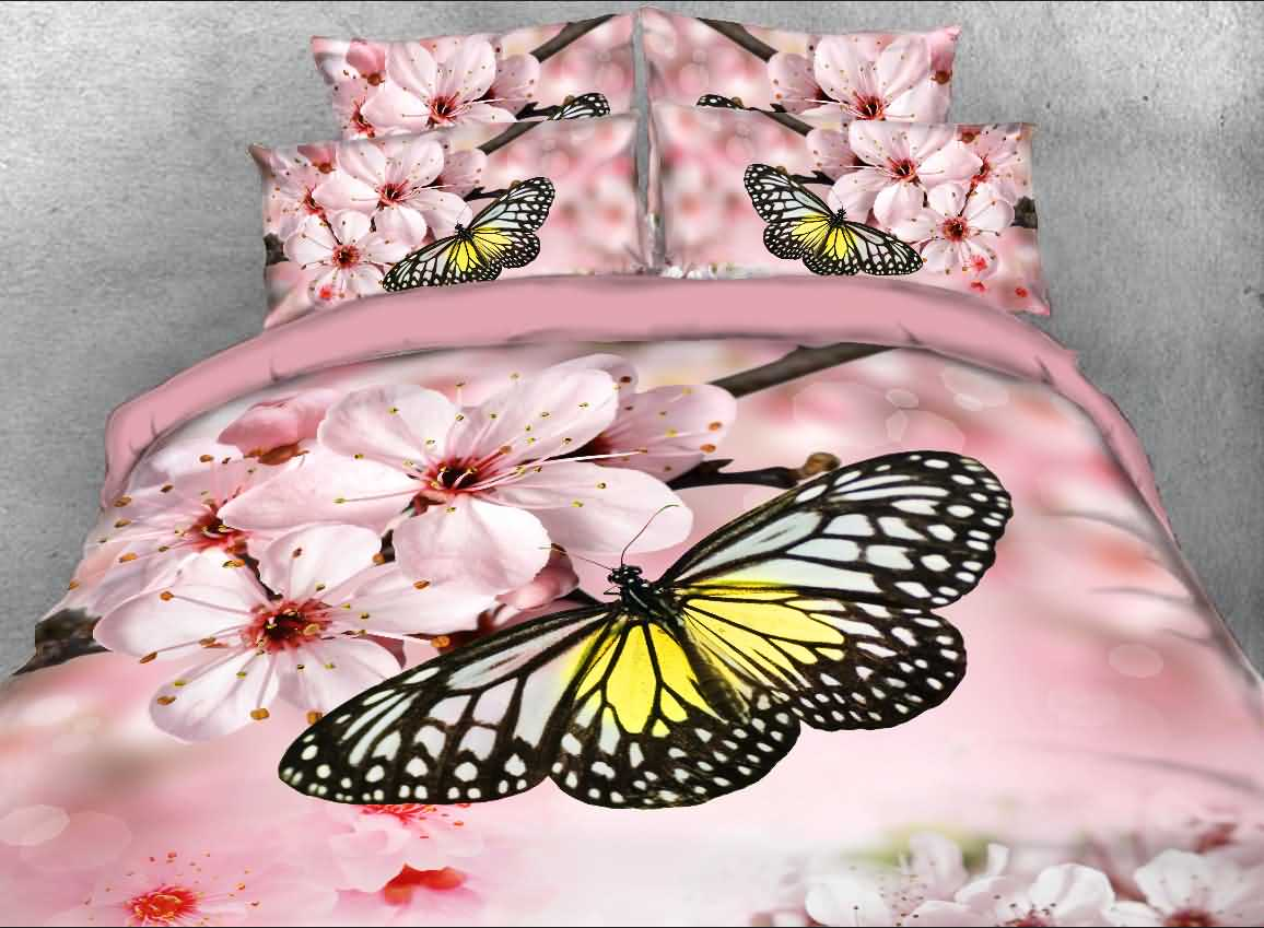 Onlwe 3D Butterfly and Pink Peach Blossom Printed 4-Piece Bedding Sets/Duvet Covers 12950488